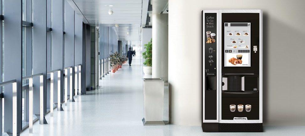 Simulación de máquina de café en empresa. Vending café. Serriver